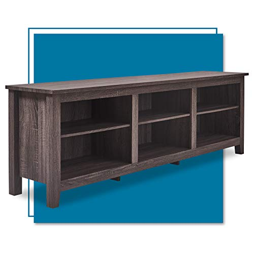 """ClickDecor Farmhouse Stand, White Wash Mid-Century Wood Universal Entertainment Center Console for TV's up to 70"""" Flat Screen Living Room with Storage Shelves, Charcoal"""