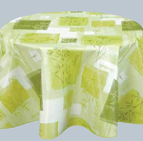 ELIKO - Mantel encerado redondo de 160 cm, PVC- E-LIKO – Eleonor verde