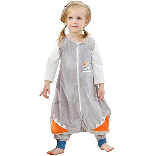 ZEEUPAI - Saco de Dormir con piernas de Franela para bebés niños infantíl Ropa Pijama niñas(S (1-3 Años), Gris - Monstruo pequeño)
