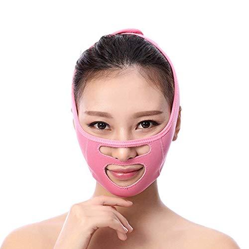 DGHJK Cinturón Fino para la Cara, V Face Artifact Transpirable Sueño Vendaje Lifting Cara Antiarrugas con Doble mentón Máscara de corrección de Belleza Correa de Adelgazamiento Facial (Color: Rosa)