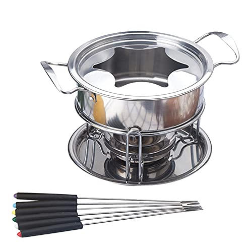 ZHANGZHI Set multifuncional de acero inoxidable, helado, chocolate, queso, olla de fusión, para fondue (color: plata)