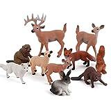 Ishine Figura de animales, 10 figuras de animales realistas, juguetes de ciervo de cola blanca, conejo, zorro rojo, castor pequeño modelo educar aprender regalo para niños