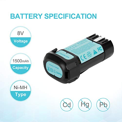 Lotive 2 Packs 8V 1500mAh Lithium-ion Battery Replace for Dewalt 8V Battery DCB080 and Fit for Dewalt DCB095 DCF680 DCF680G2 DCF680N1 DCF680N2 DCF682 DCL023 DW4390 with one charger