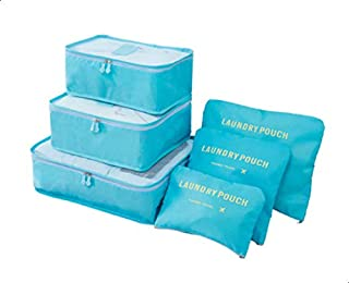 DHAO Travel Packing Cubes Set of 6 Packing Luggage Suitcase Organizer and Pouches Laundry Bags(6PCS, Blue)