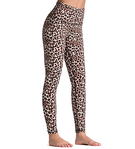 Dragon Fit Compression Yoga Pants with Inner Pockets in High Waist Athletic Pants Tummy Control Stretch Workout Yoga Leggings (Medium, Leopard)