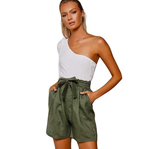 Amuse-MIUMIU Einfarbige elastische Taille für Damen Bequeme Baumwoll-Leinen-Bowknot-Shorts, lässige, lockere Homewear-Strand-Shorts mit weitem Bein und Taschen