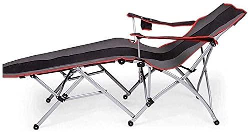 YYHAD Silla plegable reclinable, silla plegable de la cubierta, cama plegable sillas de jardín portátiles, camping, oficina, playa, viajes, senderismo, tumbona de gravedad cero