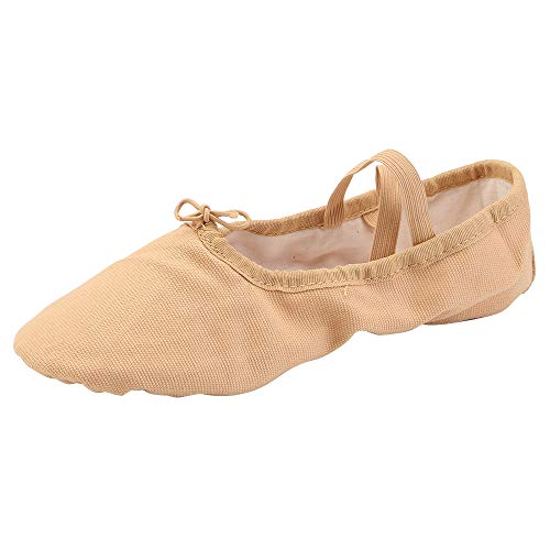 Women s Ballet Practice Ballroom Dance Shoes Canvas Belly Slippers Split-Sole(8  Light Tan)