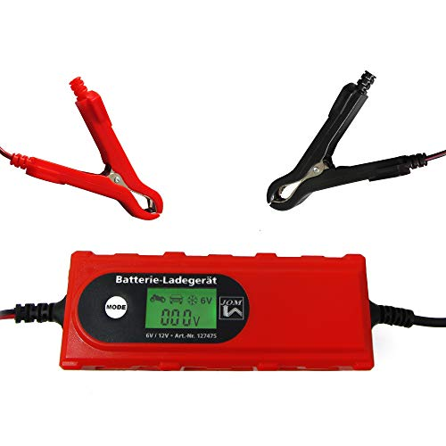 JOM Car Parts & Car Hifi GmbH 127475 Batterieladegerät 6V/12V 4A mit Batterietester Erhaltungsladerät IP65für KFZ Auto Boot Quad Motorrad Roller isolierte Krokodilklemmen