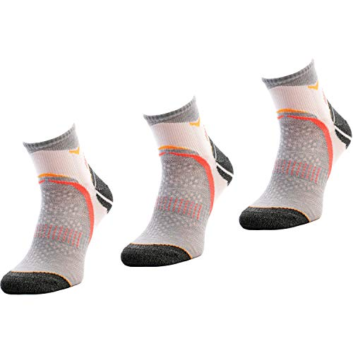 Comodo Calcetines antideslizantes, antideslizantes y funcionales para zapatillas de deporte para maratón, senderos, trotar y correr, RUN1 [3 pares] [talla 8 - 6] [RUN2 - blanco / gris]