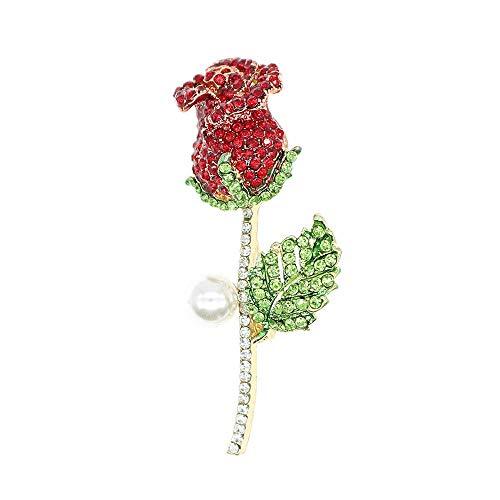 HSQYJ Broche de flor de cristal creado Pin Rhinestone Rose Flower Broches para mujeres niñas moda ropa accesorio regalo