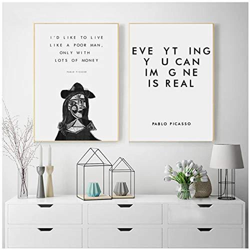 LLSDSD Pablo Picasso Citazioni letterarie Stampa Artistica Libro Amante Regalo Bianco e Nero Opere d'Arte Poster Pittura su Tela Immagine Soggiorno Decor 20x28 Pollici 2 Pezzi Senza Cornice