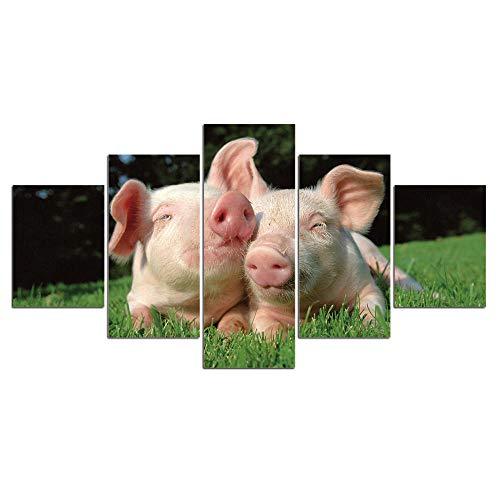 ELSFK Cuadro En Lienzo Imagen de Cerdo Animal Impresión De 5 Piezas Material Tejido No Tejido Impresión Artística Imagen Gráfica Decor Pared 100x55cm