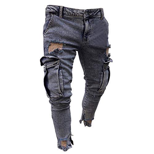 Große Größe Jeans für Herren,Skxinn Männer Sommer Casual Destroyed Slim Fit Skinny Denim Strech Jeans Männer Zerrissen Denim Freizeithosen,S-4XL Ausverkauf(Grau,Medium)