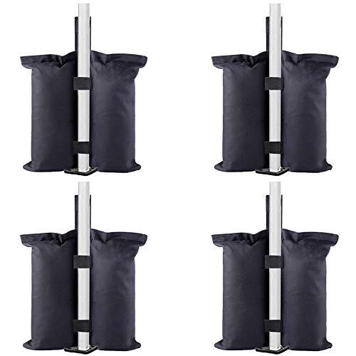 TESSLOVE Industrielle Qualität, Sandsäcke Beingewichte für Pop-Up-Zelt, Terrassenschirm, Outdoor-Möbel (nur Taschen, Sand nicht im Lieferumfang enthalten), 4 Stück, L, Schwarz