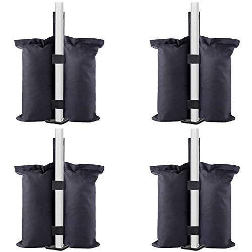 TESSLOVE Weight Bags, Sand Bags Leg Weights for Pop up Canopy Tent, Patio Umbrella, Outdoor Furniture, 4pcs-Pack (Bags Only, Sand Excluded) (4pcs, Black)