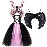 MFFACAI Disfraz de Bruja Vampiro Vampiresa Niña Disfraz Maléfica Reina para Halloween Carnaval Cosplay Tutú Vestido Princesa de Fiesta Ceremonia Niñas (Color : Pink, Size : 6-7Y)