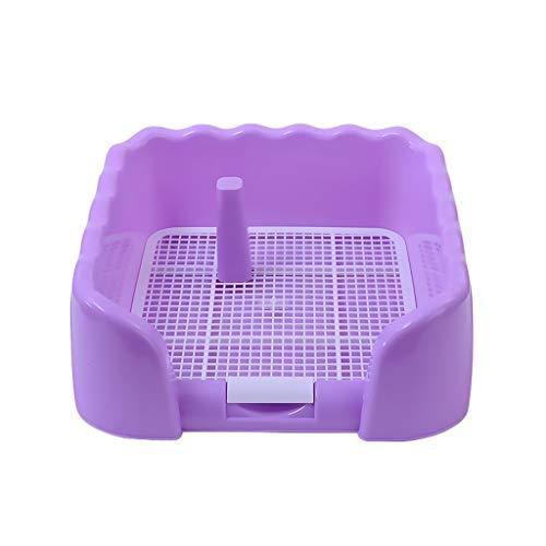LT Tragbare pet toilettenbehälter Training pad Halter mit Zaun und pinkeln spalte Hunde Indoor Outdoor Einsatz klotopf (Color : Purple)