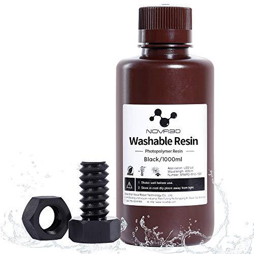 NOVA3D Water Washable Resin 3D Printer Rapid Photocuring UV 405nm Resin Standard polymer Resin for LCD/SLA/DLP, 500ml/Black