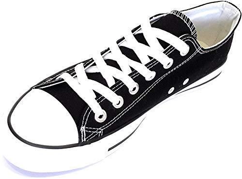 Zapatillas Canvas de Lona Unisex, Negro Blanco, 37 EU