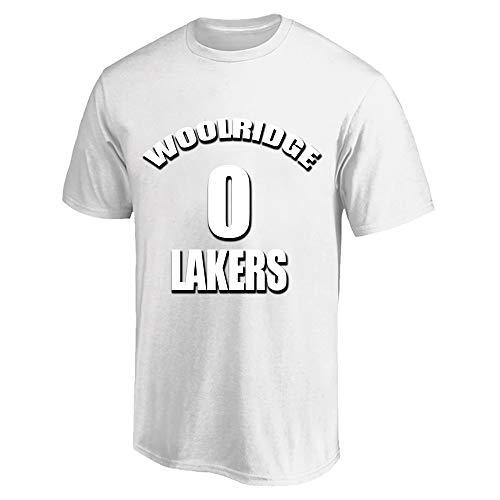 NQFL Camiseta Deportiva Transpirable para los jóvenes Orlando Woolridge # 0 Fans de Baloncesto Jersey Camisa de Manga Corta Moda gráfica de Moda Cuello Redondo Regalo (Color : White, Size : X-Large)