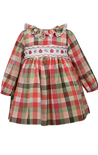Bonnie Jean Thanksgiving Dress - Buffalo Check Pumpkin Smocked Dress, 18 Months
