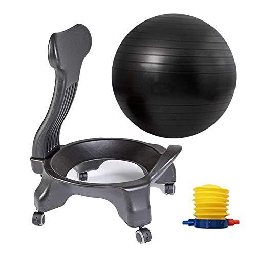 LieYuSport Gymnastikball,Balance Ball Stuhl mit Rädern und Rückenstütze,Yoga Ball Stuhl Sitzhaltung Verbessern,Fitnessball Pilates Ball Sitzball Gymnastik Ball für Home Office, Balance Ball,Schwarz