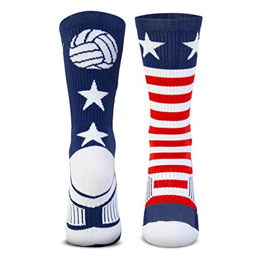 Volleyball Woven Mid-Calf Socks | USA | Red & White & Blue