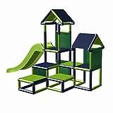 move and stic Spielturm Kletterturm Gesa mit Rutsche für Kleinkinder mit Kriechtunnel Mas (apfelgrün titangrau)