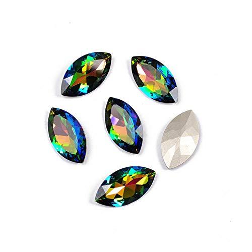 PENVEAT 4227 17x32mm Grandes Ojos de Caballo Piedras Garra Dorada Coser en Strass Cuentas de Diamantes de imitación de Cristal para la Ropa de Vestir Joyas, Vitrail Medium, con Garra Dorada
