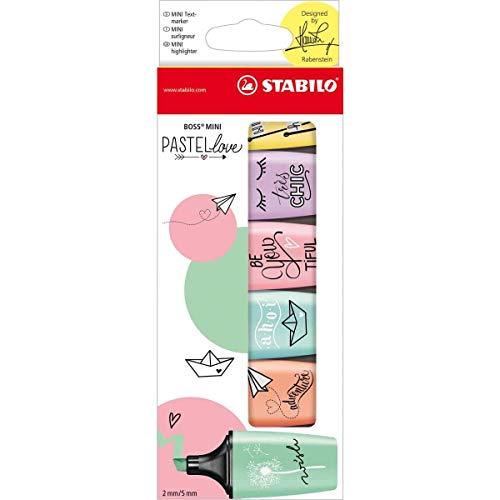 Caneta Marca Texto, Stabilo, BOSS Mini Pastellove, 55.3200, 6 Cores, Tons Pastel