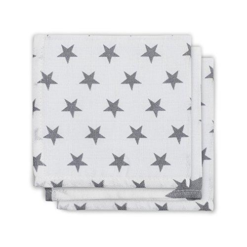 Jollein 537–848–65009 Serviette de gaze Bouche Little Star, Lot de 3, gris/anthracite