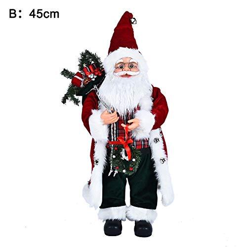 HoneybeeLY Weihnachtsmann Figur Puppe Nikolaus Santa Clause Figur Groß Weihnachts Deko 45 cm
