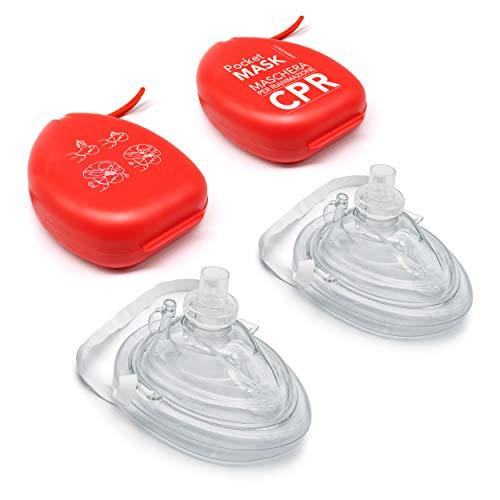 AIESI® Pocket Mask Professionelle Mund-Atmungsmaske mit Einwegventil und Filter (2er Pack) # CPR Mask-Resuscitator