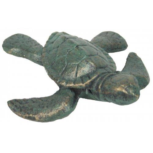 Moby Dick Nautical Coastal Sea Turtle Verdi Green Cast Iron Tabletop Accent Decor