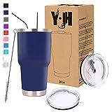 Y·JH 30oz (850ml) Vaso de Viaje de Taza de café con Aislamiento al vacío de Doble Pared Taza de café de Acero Inoxidable con 2 Tapas a Prueba de Salpicaduras, 2 pajitas, sin BPA - Azul Marino