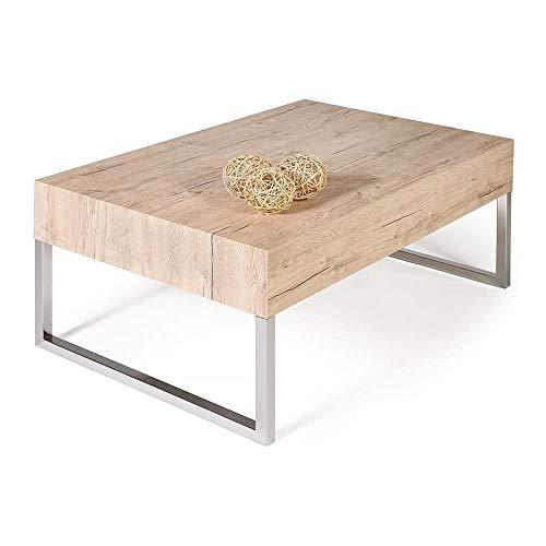 Mobili Fiver, Table Basse, Evo XL, Chêne Naturel, 90 x 60 x 40 cm, Mélaminé/Fer Chromé, Made in Italy