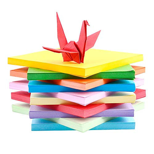 Papel para origami, 20 x 20 cm, 200 hojas, multicolor, papel plegable de doble cara, para niños y adultos, juego de origami de 10 colores para manualidades y decoración