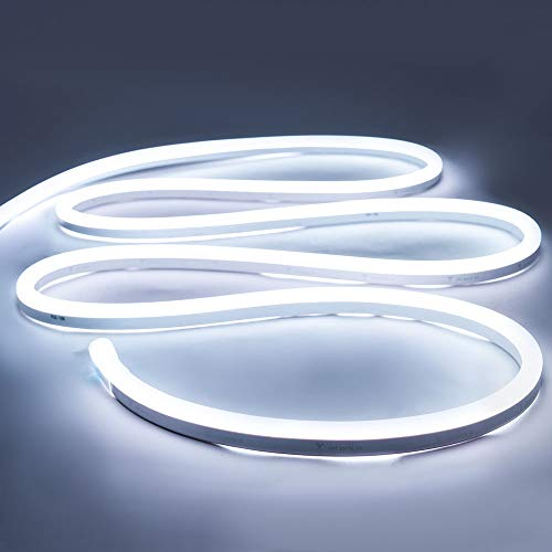 iNextStation Neon LED Strip Light 16.4ft/5m 12V DC 600 SMD2835 LEDs Waterproof Flexible LED NEON Light for Indoors Outdoors Decor [ White   No Power Adapter]