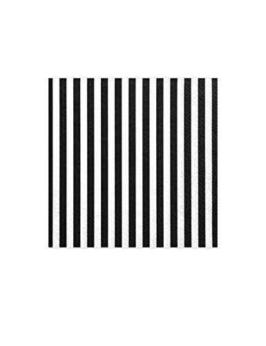 20 Servietten Streifen - weiß schwarz | aus Papier