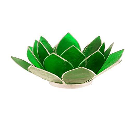 Porte Bougie Fleur de Lotus vert et argent 4 ème chakra
