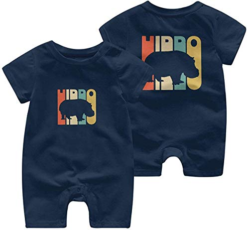 sanlianwangluokeji Newborn Baby Boys Girls Romper Jumpsuit Vintage Style Hippo Silhouette Cotton Short Sleeve Jumpsuit