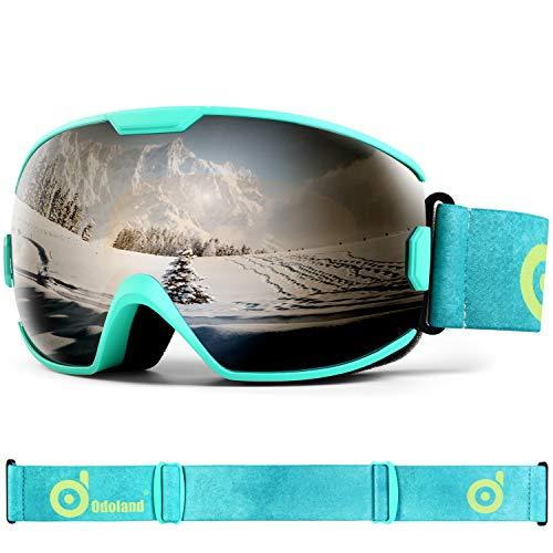 Odoland Skibrille Kinder Snowboardbrille für brillenträger Helmkompatible mit 100{11c74343a617dd97ad1c0069e42d18b128e8b2133d70964a14577fcaa34a30a3} UV-Schutz und OTG Anti-Beschlage für Jungen und Mädchen zum Skifahren und Bergsteigen VLT 12{11c74343a617dd97ad1c0069e42d18b128e8b2133d70964a14577fcaa34a30a3}