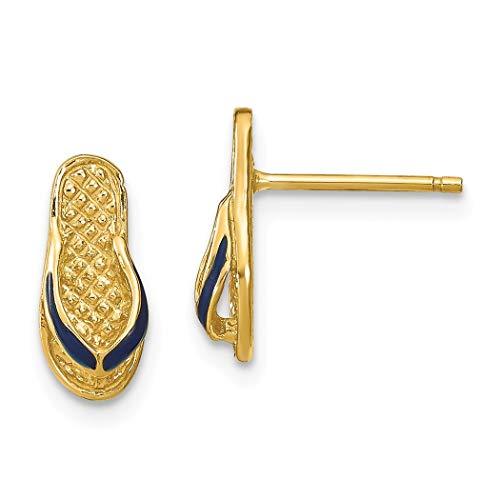 14 Karat Gold Blaue Emaille Flip Flop Ohrringe Schmuck Geschenke für Frauen
