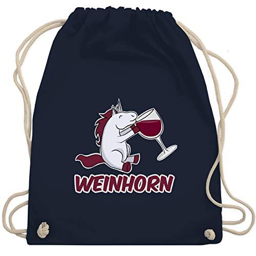 Shirtracer Einhörner - Weinhorn - Unisize - Navy Blau - beutel weinhorn - WM110 - Turnbeutel und Stoffbeutel aus Baumwolle