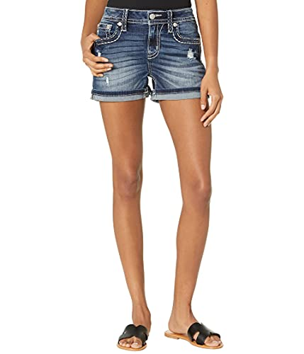Miss Me Two-Tone Big Border Stitch Flap Pocket Mid-Rise Shorts in Dark Blue Dark Blue 26