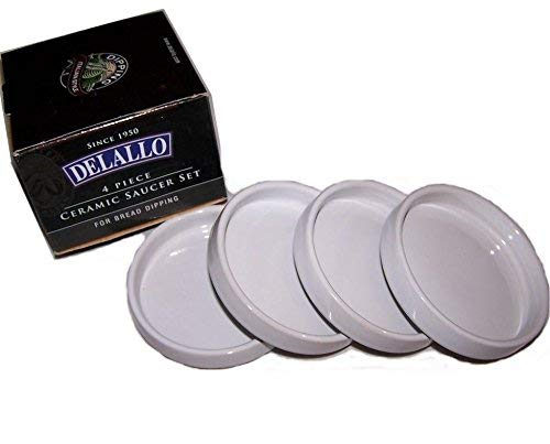 Detallo B004UCC0IE Delallo-4 Piece Ceramic Saucer Set for Bread Dipping, 1, White