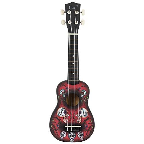 EXCEART 21 Pulgadas Concierto Ukelele Guitarra 4 Cuerdas Patrón de Calavera Guitarra Pequeña Niño Instrumento Musical Juguete Mini Guitarra para Principiantes Niños Estudiantes Amante de