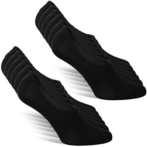 Classics ® Herren und Damen Unsichtbare Sneaker Socken (6er Pack) Großes Silikonpad Verhindert Verrutschen (6x Schwarz, 39-42)