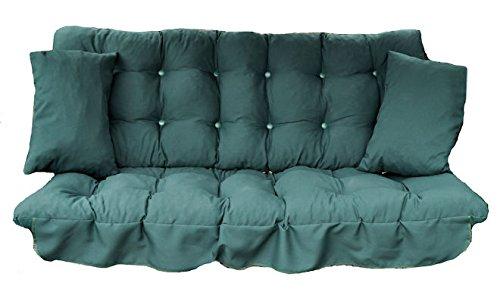 GB Leisure Garden Patio 3 Seater Replacement Swing Hammock Bench Cushion Set Dark Green